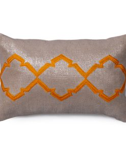 Caitlin Metallic Linen Pillow in Sunset