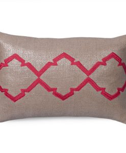 Caitlin Metallic Linen Pillow in Retro Pink
