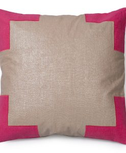 Tracy, Metallic Linen Pillow in Pink