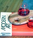 Sempli rocks glasses on Ambrosia Maple Tray with Campari and Modern Art
