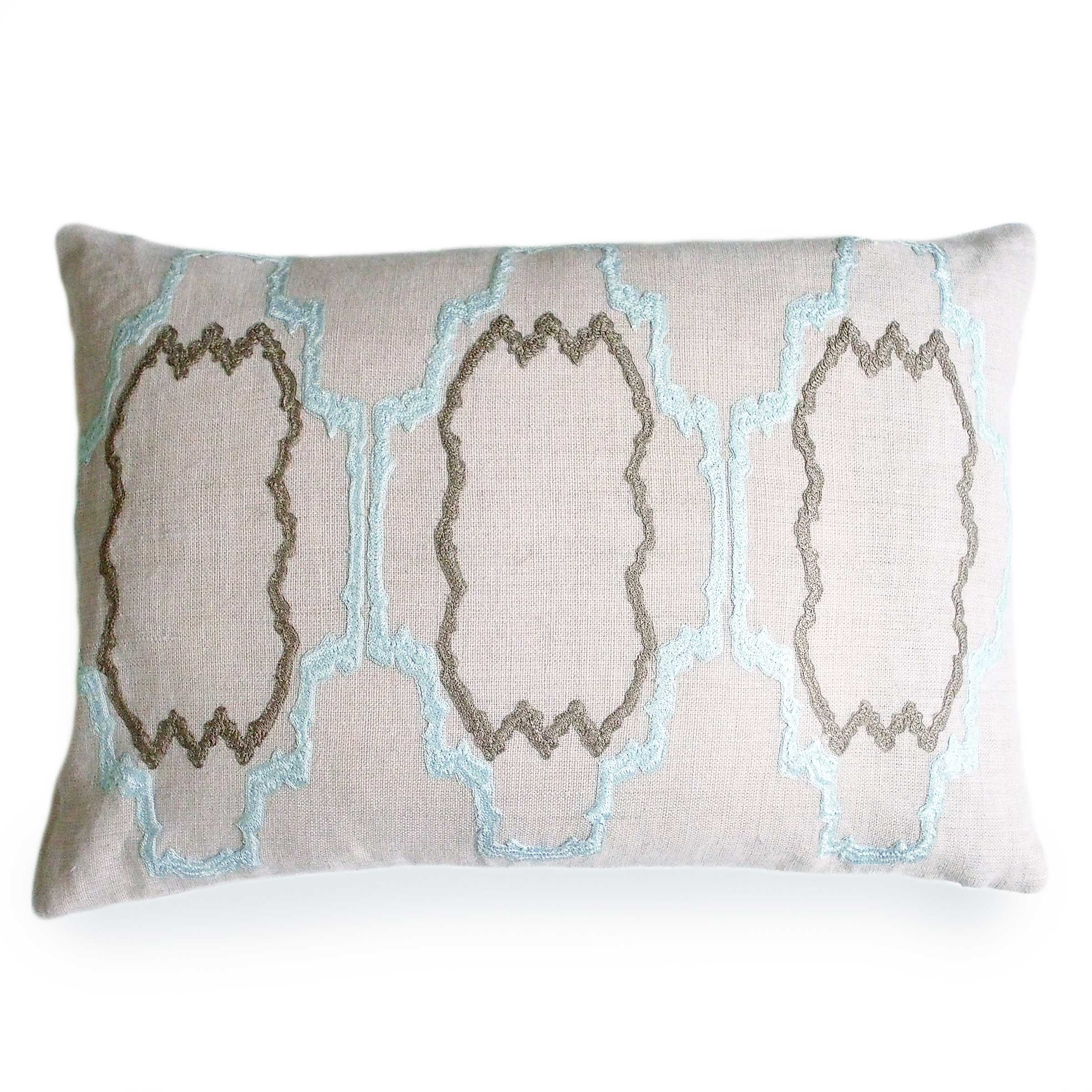 Pacific Blue Throw Pillows : Pacific Blue Lilly Linen Pillow - Donjenna
