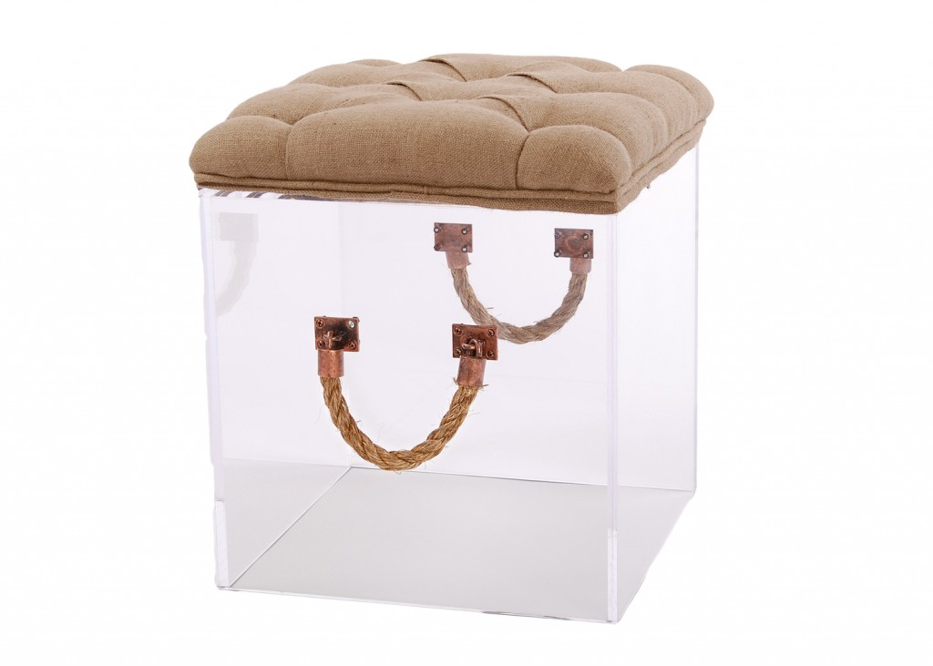 Bella Stool with Nautical Handles & Cushion