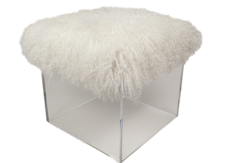 The Fluff Bella Cube Ottoman with Tibetan Lamb